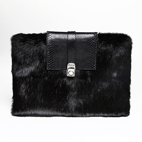 Rabbit fur and python skin clutch / Drop 2 / Mark Molnar