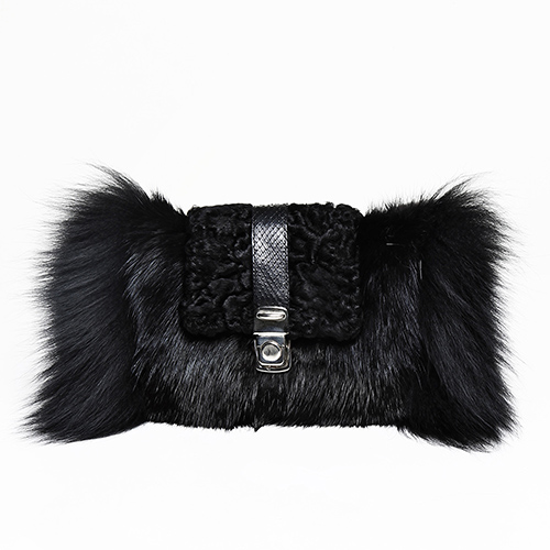 Musquash, swakara, silver fox fur clutch / Drop 2 / Mark Molnar