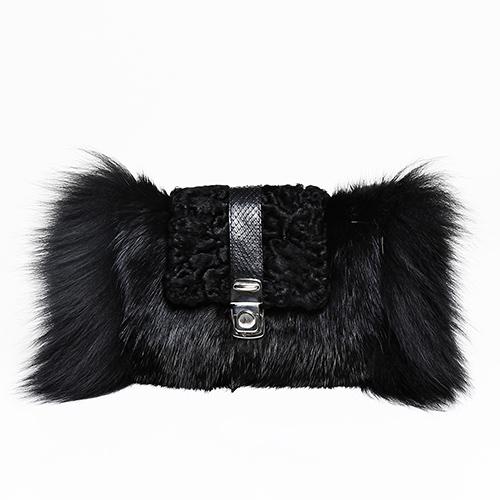 Musquash, swakara, silver fox fur clutch / Spring-Summer 2014 / Mark Molnar