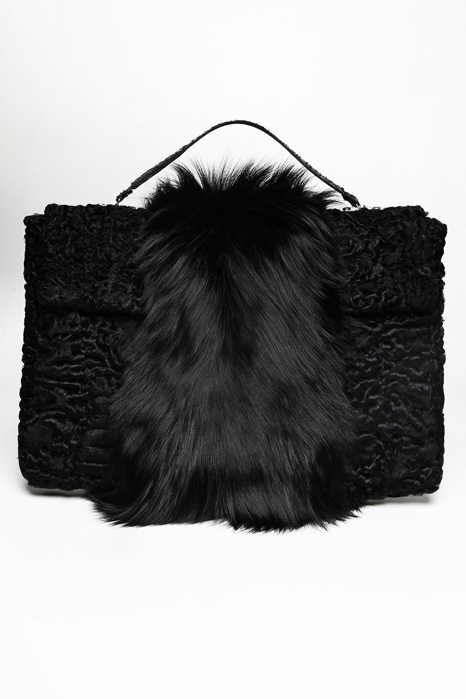Swakara and sliver fox fur briefcase / Drop 2 / Mark Molnar