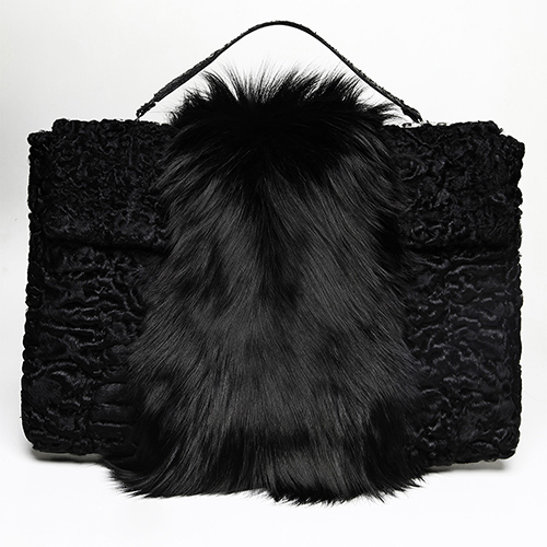 Swakara and sliver fox fur briefcase / Drop 2 / Mark Molnar