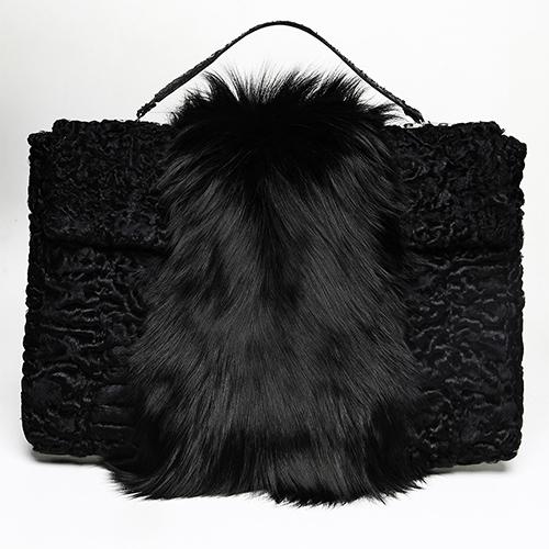 Swakara and sliver fox fur briefcase / Spring-Summer 2014 / Mark Molnar